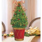 Red and Gold Decorated Spruce Tree